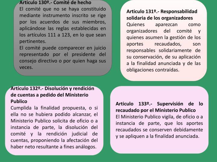Articulo 130º.- Comité de hecho