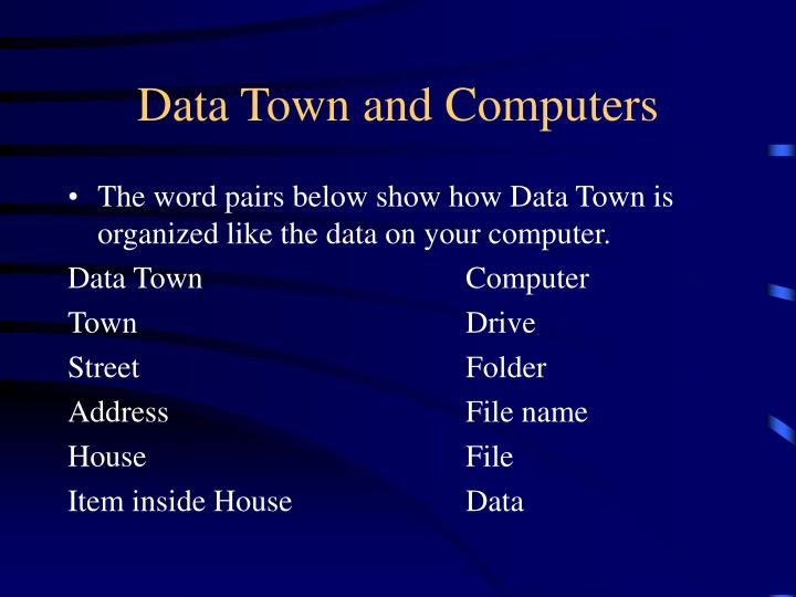 Data Town and Computers