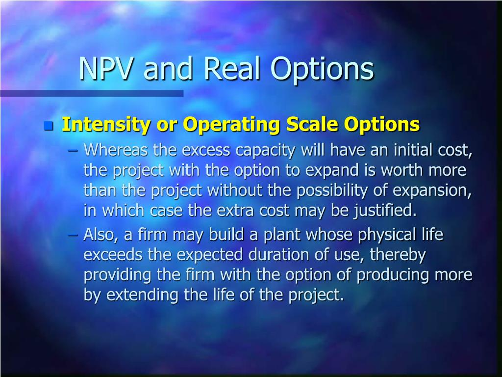NPV and Real Options