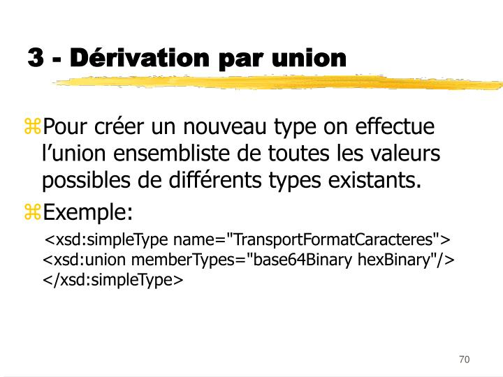 3 - Dérivation par union