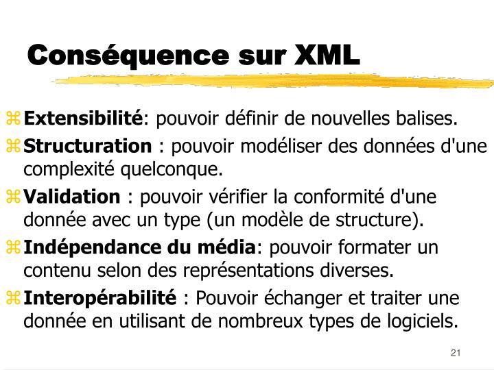 Conséquence sur XML