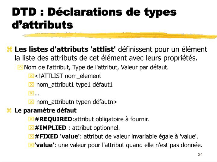 DTD : Déclarations de types d'attributs