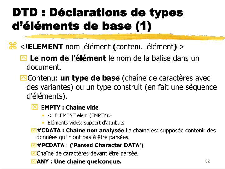 DTD : Déclarations de types d'éléments de base (1)