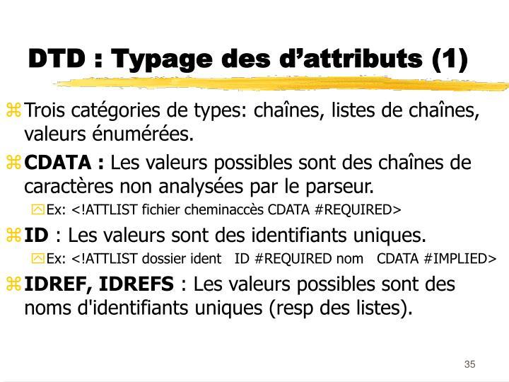 DTD : Typage des d'attributs (1)