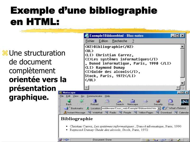 Exemple d'une bibliographie en HTML: