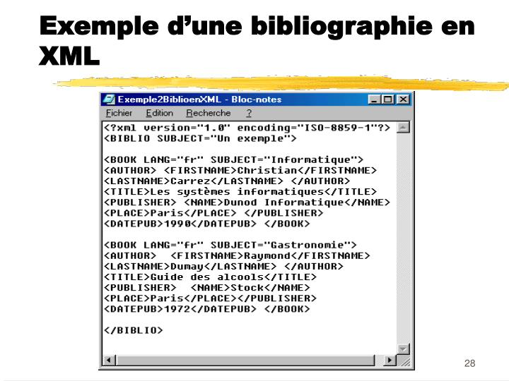 Exemple d'une bibliographie en XML