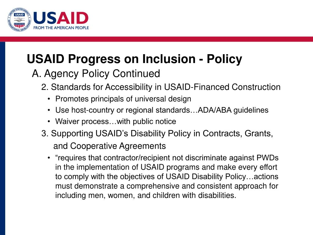 USAID Progress on Inclusion - Policy