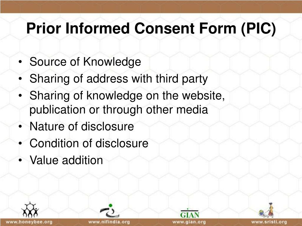 Prior Informed Consent Form (PIC)