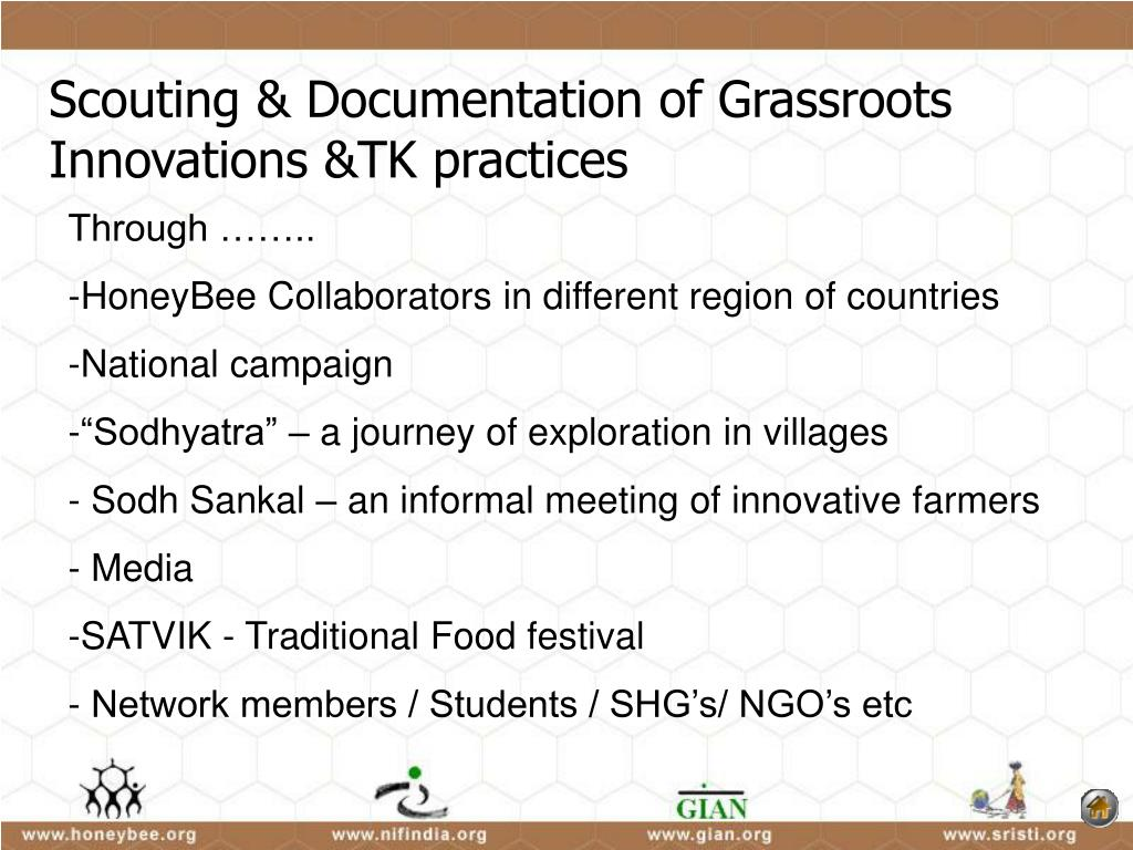 Scouting & Documentation of Grassroots Innovations &TK practices