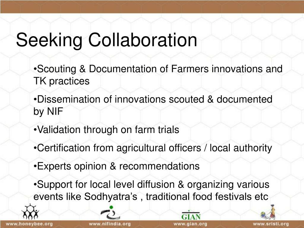 Seeking Collaboration