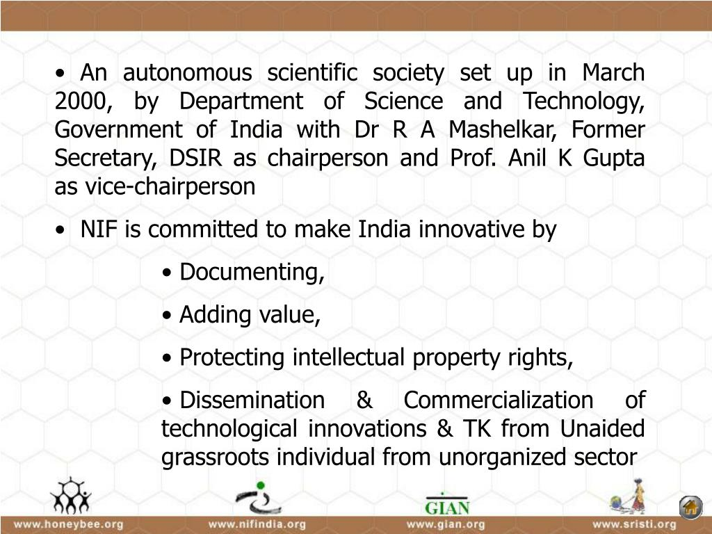 An autonomous scientific society set up in March 2000, by Department of Science and Technology, Government of India with Dr R A Mashelkar,