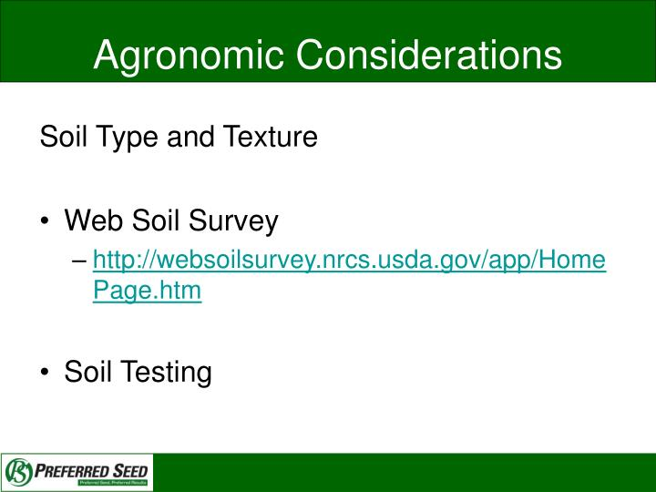 Agronomic Considerations