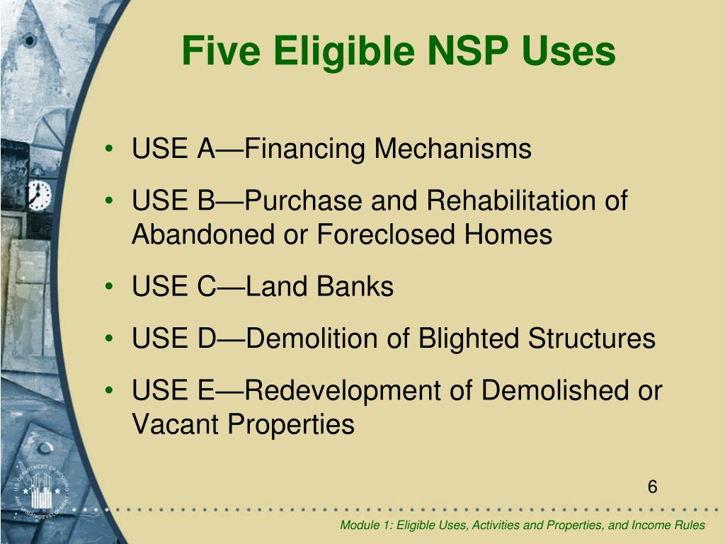 Five Eligible NSP Uses