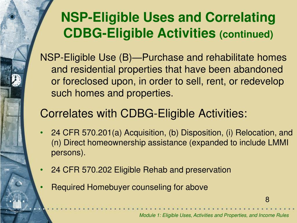 NSP-Eligible Uses and Correlating CDBG-Eligible Activities