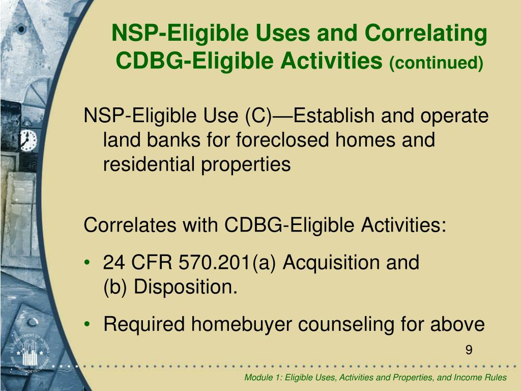 NSP-Eligible Use (C)—Establish and operate land banks for foreclosed homes and residential properties