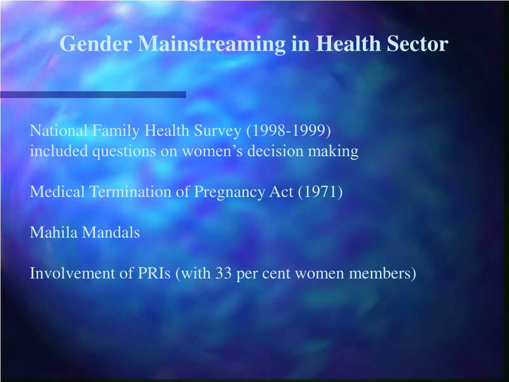 Gender Mainstreaming in Health Sector