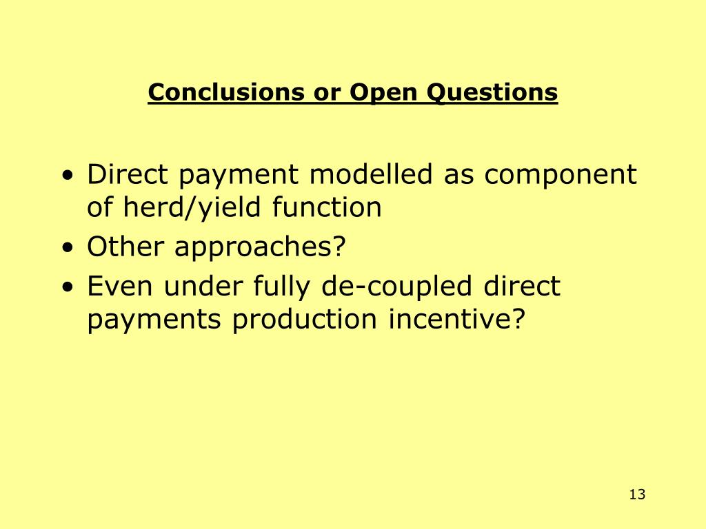 Conclusions or Open Questions