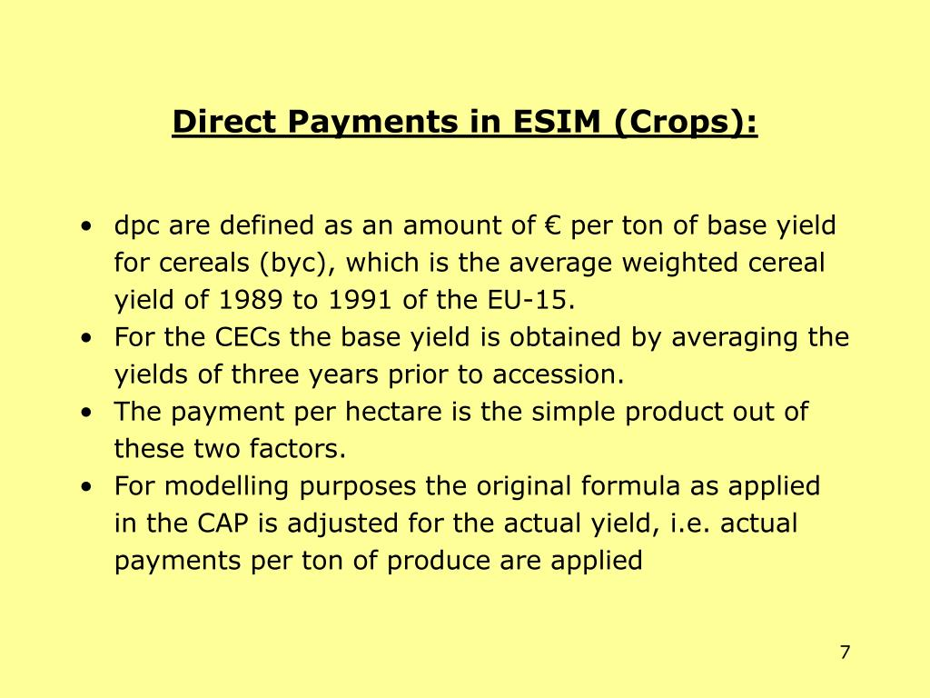 Direct Payments in ESIM (Crops):
