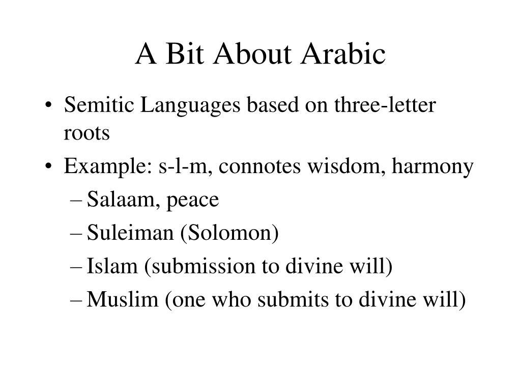 A Bit About Arabic