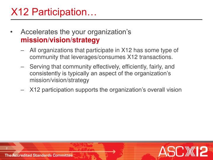 X12 Participation…