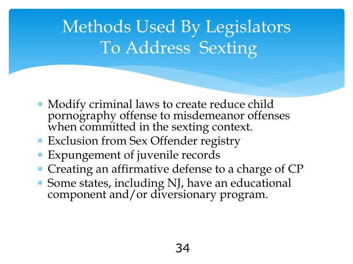 Methods Used By Legislators