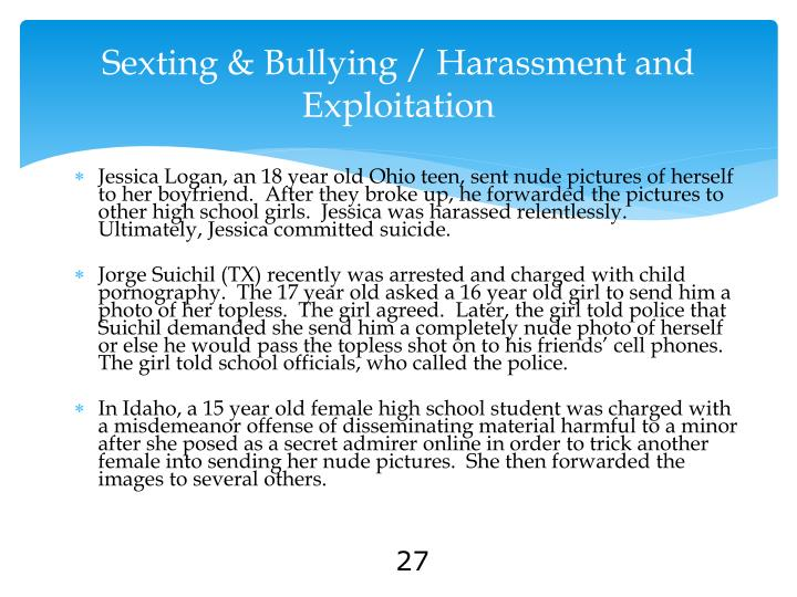 Sexting & Bullying / Harassment and Exploitation