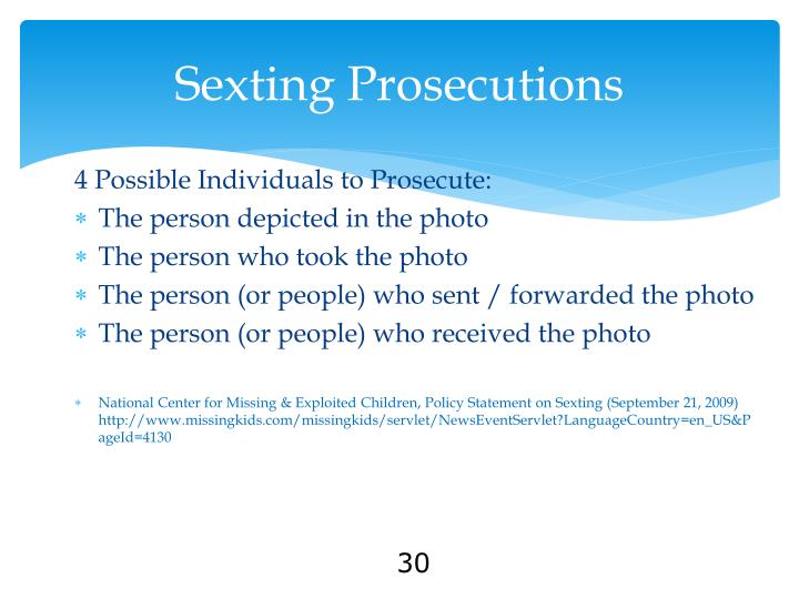 Sexting Prosecutions