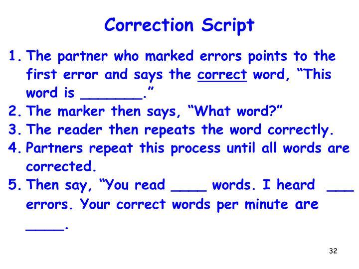 Correction Script