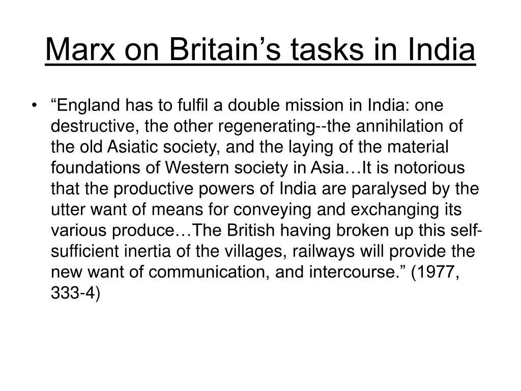 Marx on Britain's tasks in India