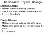 chemical vs physical change