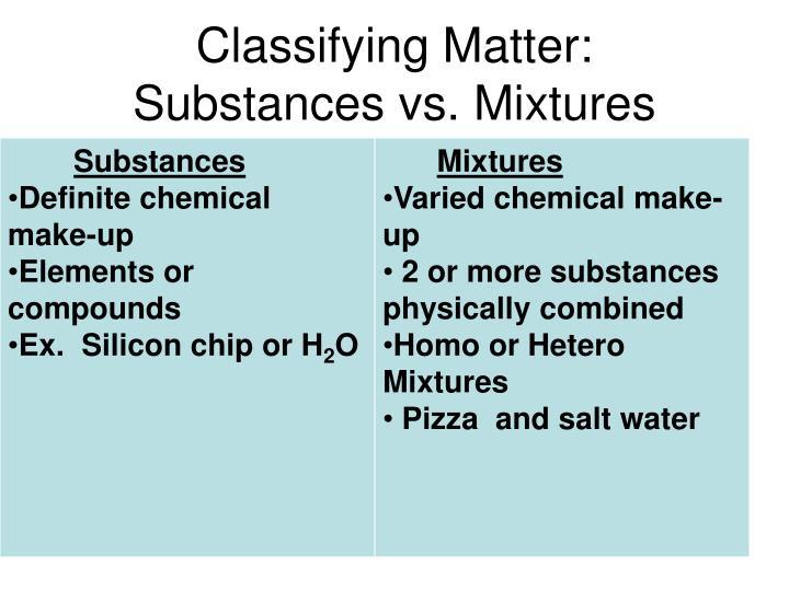 Classifying Matter:
