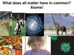 what does all matter have in common atoms