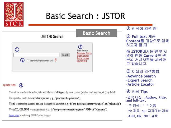 Basic Search : JSTOR