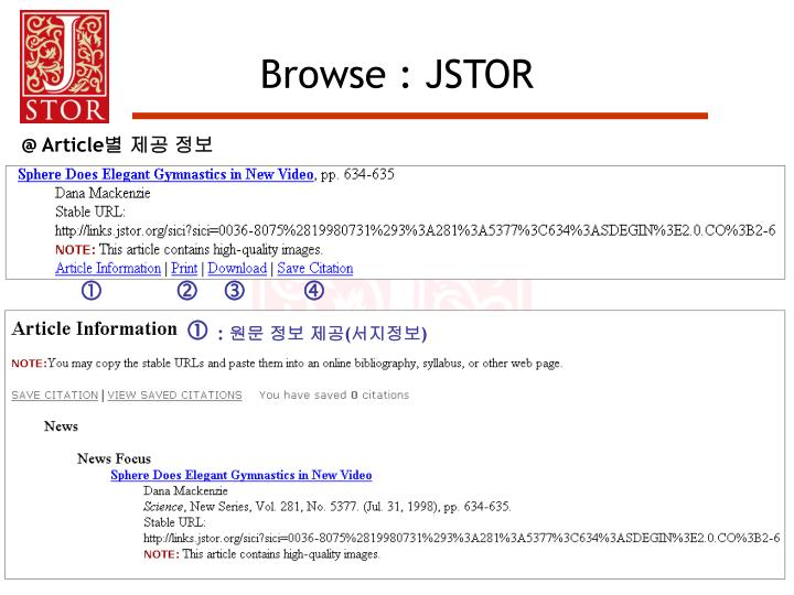 Browse : JSTOR