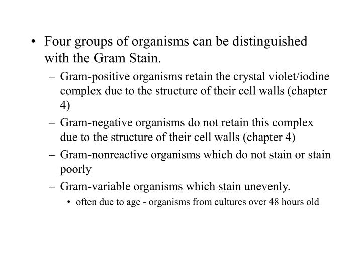 Four groups of organisms can be distinguished with the Gram Stain.