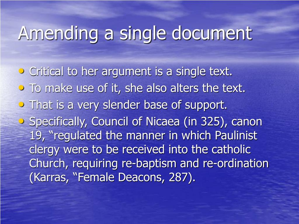 Amending a single document
