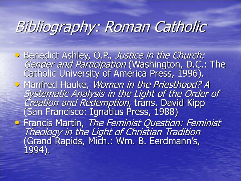 Bibliography: Roman Catholic