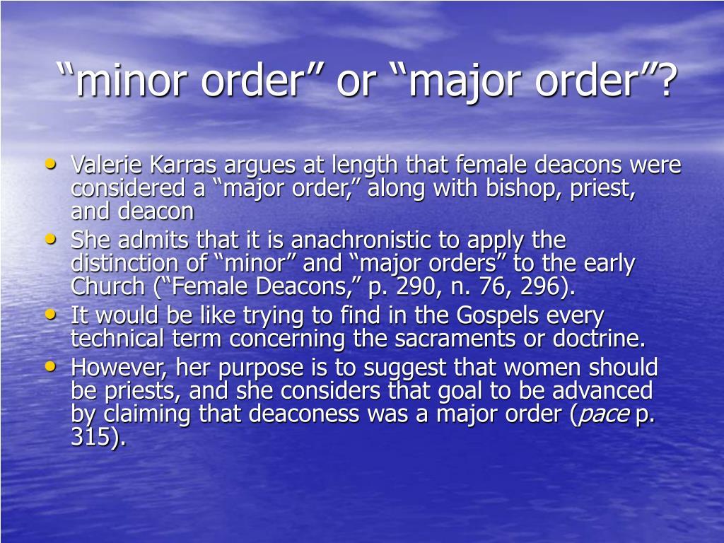 """""""minor order"""" or """"major order""""?"""
