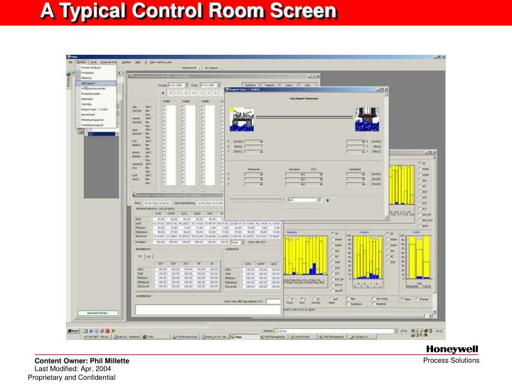 A Typical Control Room Screen