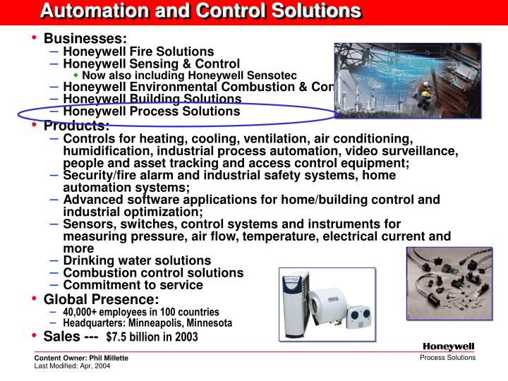 Automation and Control Solutions
