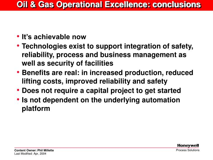 Oil & Gas Operational Excellence: conclusions