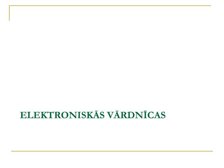 Elektroniskās vārdnīcas