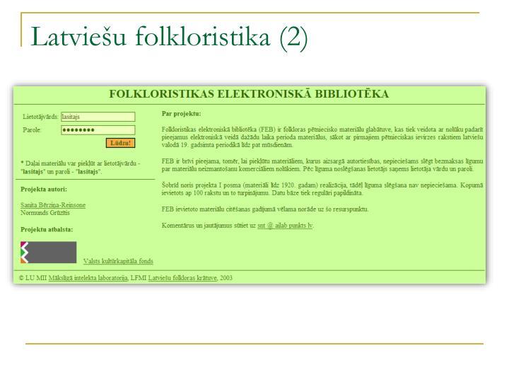 Latviešu folkloristika (2)