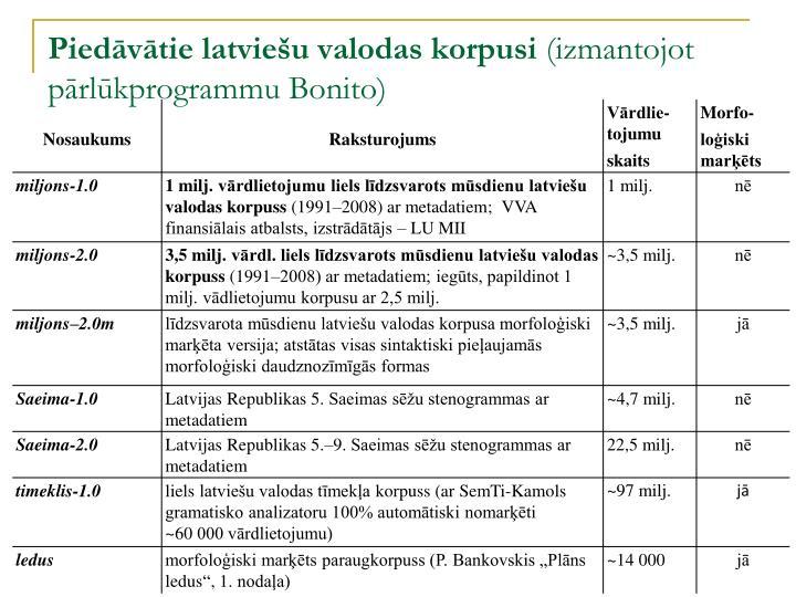 Piedāvātie latviešu valodas korpusi