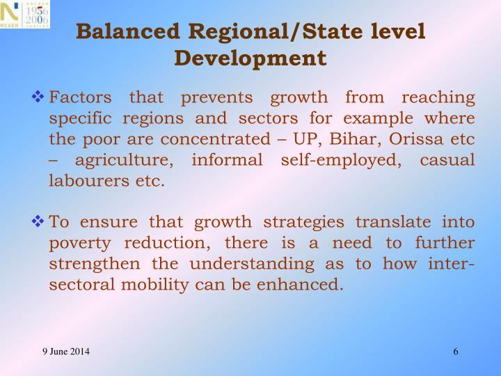 Balanced Regional/State level Development