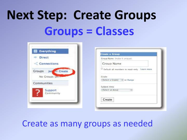 Next Step:  Create Groups