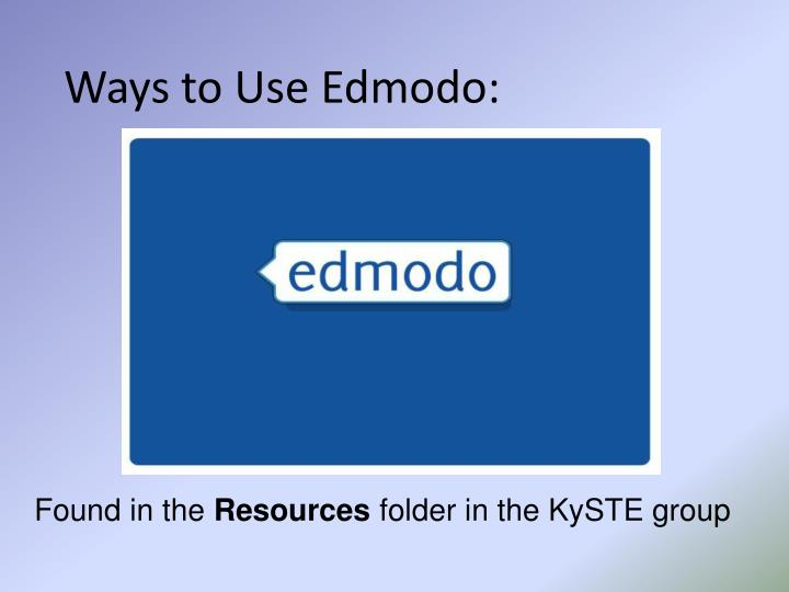 Ways to Use Edmodo: