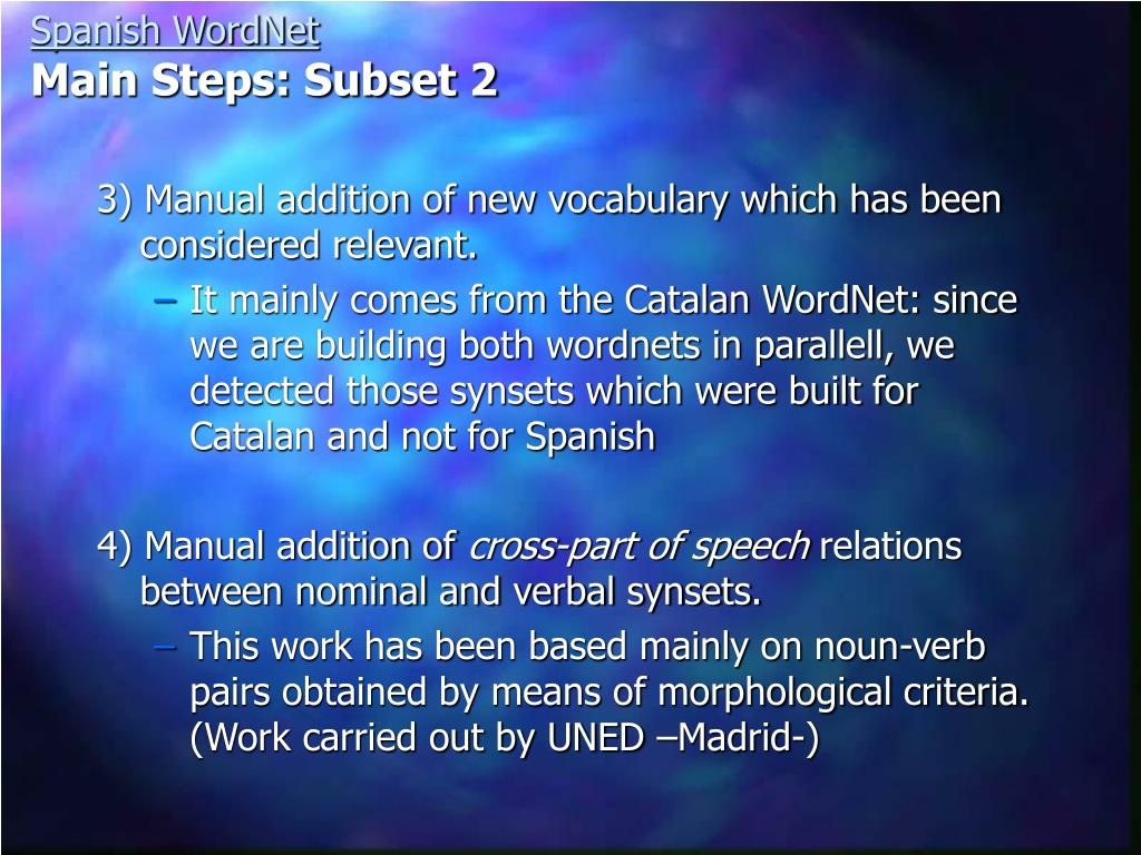 3) Manual addition of new vocabulary which has been considered relevant.