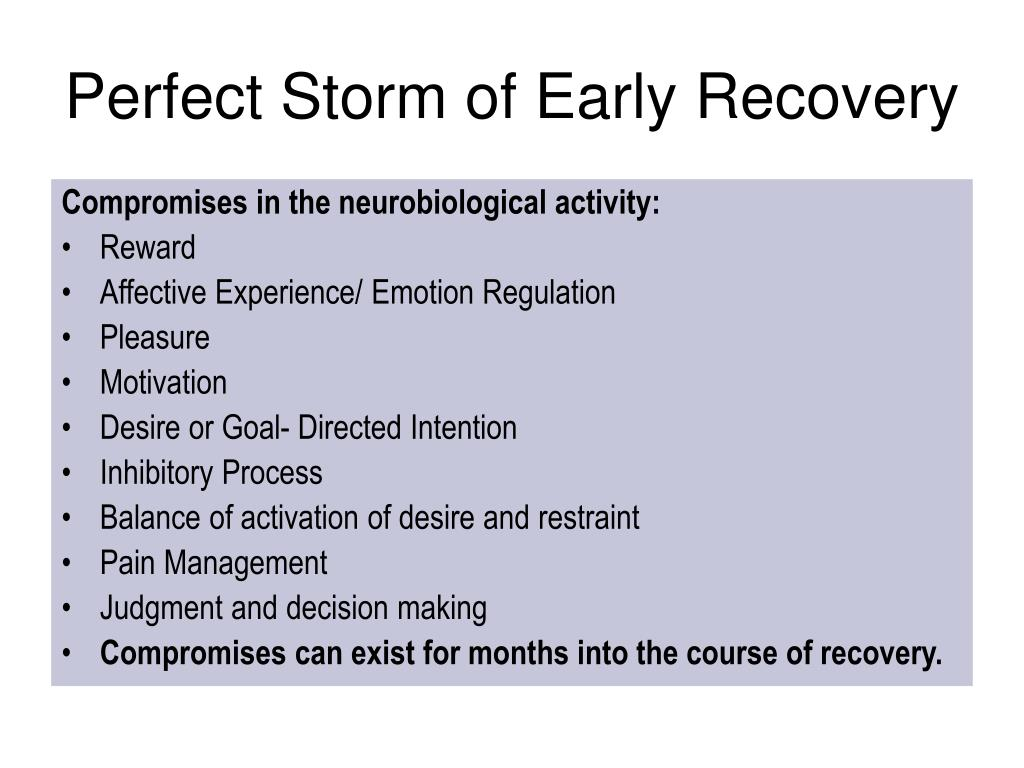 Perfect Storm of Early Recovery