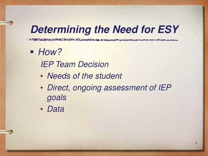 Determining the Need for ESY